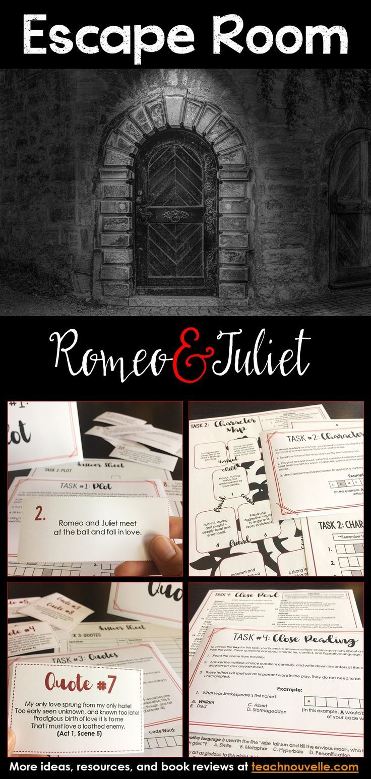Romeo And Juliet Escape Room Review Activity Group Work