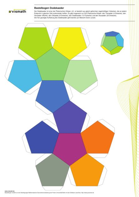 Platonic Solid dodecahedron from twelve pentagons Bastelbogen - paper design template