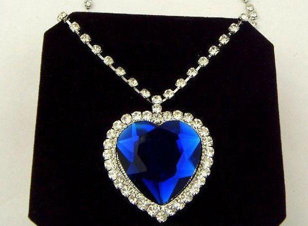 4c7ab7992ddad TITANIC Blue Sapphire & Crystal Large Heart Ocean Necklace Halloween ...