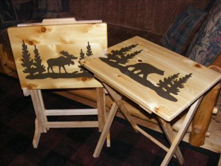 Set Of Two Wood TV Tray Tables And Rack By BlackRiverWoodshop