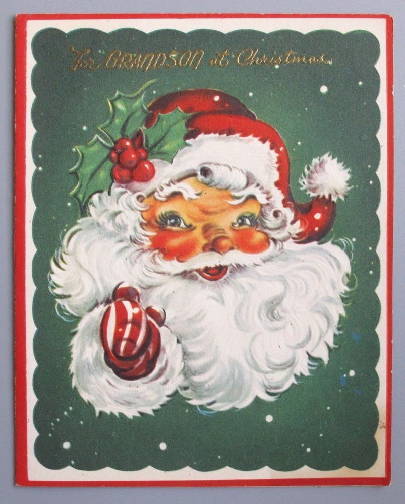 Vintage greeting card christmas santa claus head face art guild of vintage greeting card christmas santa claus head face art guild of williamsburg kristyandbryce Image collections