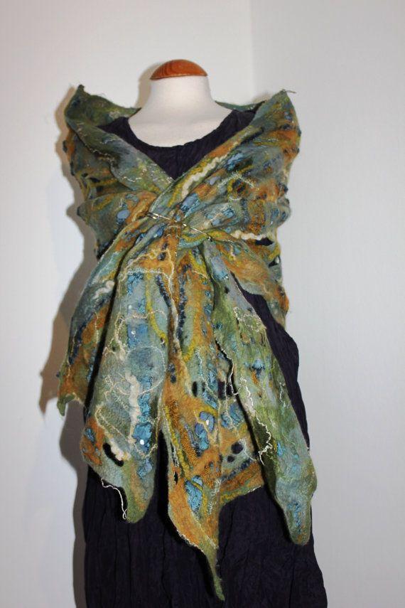 Felted wool scarf shawl slate blue green gold by Angelab5705