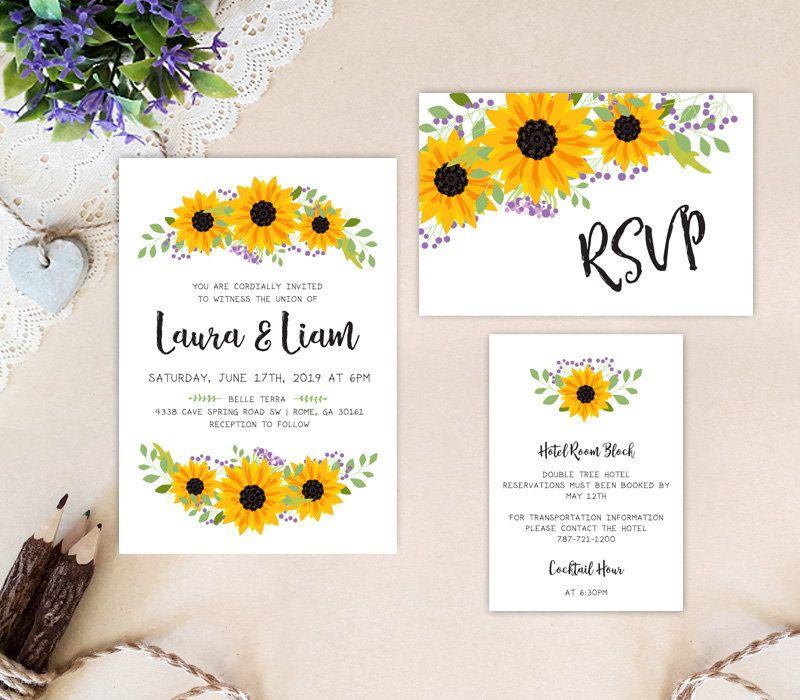 Sunflower wedding invitation set PRINTED: invitation, RSVP postcard ...