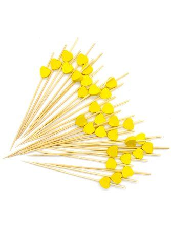 Putwo Handmade Cocktail Picks 100 Counts Cocktail Sticks Heart Frilled Toothpicks Party Supplies Yellow Pu Cocktail Sticks Cocktail Picks Christmas Nibbles