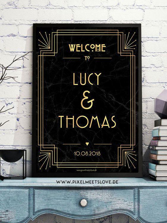 Ich freue mich, den jüngsten Neuzugang in meinem #etsy-Shop vorzustellen: Gatsby Art Deco Wedding Sign * Wedding Welcome Poster * Willkommensschild * Gatsby Hochzeit Namensschild * Black and Gold Wedding http://etsy.me/2jW8try #papierwaren #hochzeit #poster #dina2 #gatsby #artdec