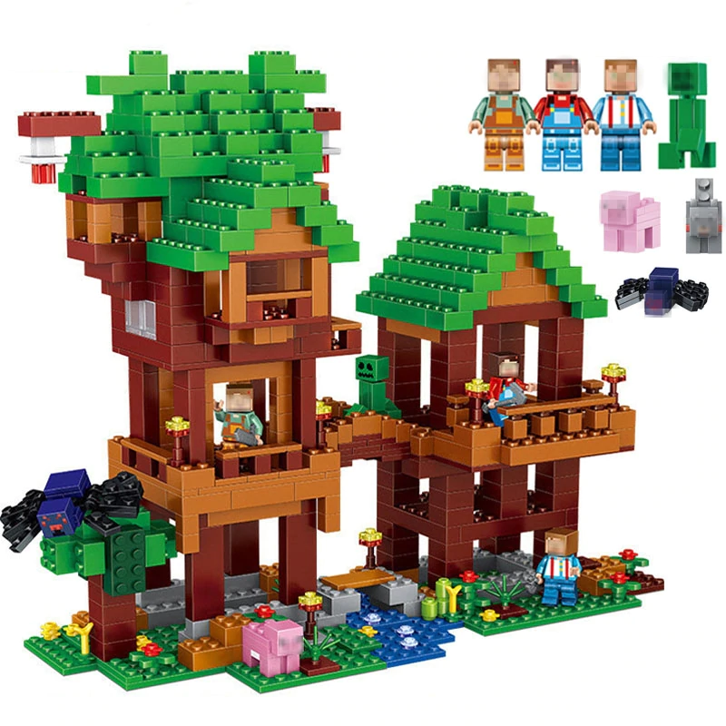 584pcs My World The Jungle Tree House Figures Building Blocks Bricks Toys For Children Compatible Legoin Minecraft 21125 Blocks Buy At The Price Of 28 10 In Tree House Minecraft Jungle House Jungle Tree