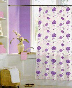 Peace Sign Bathroom Sets Amazon Com Peace Signs Purple And Pink Vinyl Shower Curtain Vinyl Shower Curtains Purple Shower Curtain Curtains