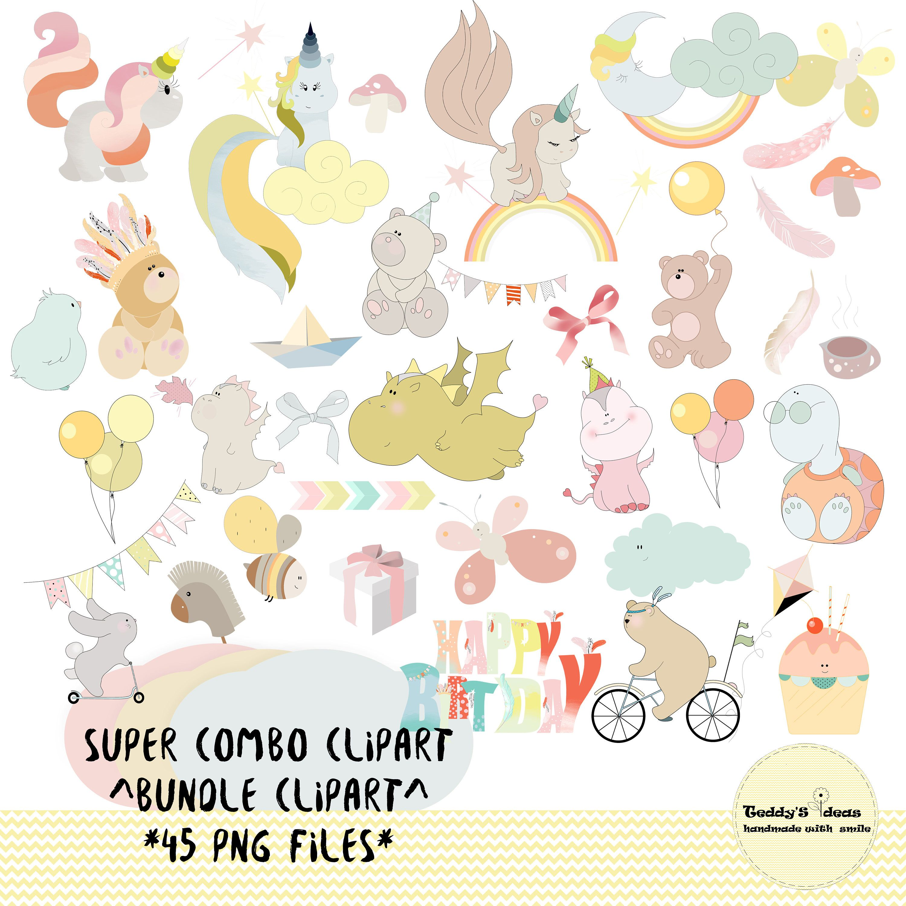 combo clipart , bundle clipart birthday , invitation, kids, cards ...