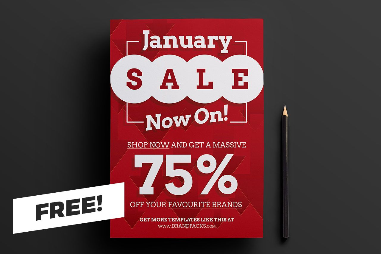 Free January Sale Poster Template For Photoshop Illustrator Sale Poster Poster Template Online Shop Design