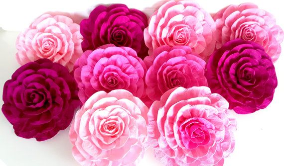 10 Large Paper Flowers Pink Gold Wall Burgundy Marsala Baby Shower
