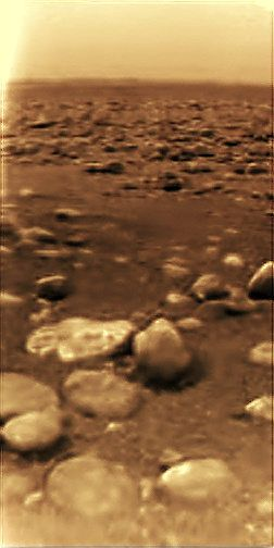 An Image From The Surface Of Titan Saturn Moon With Lakes Oceans