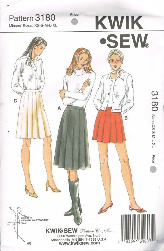 Size Xs Xl Misses Pleated Skirts Sewing Pattern Long Skirt Short