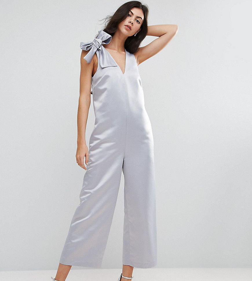 d0daa99ee85d ASOS TALL Satin Minimal Occasion Jumpsuit With Tie Shoulder Detail - S.  Visit