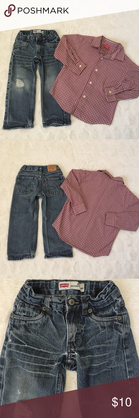 Bundle of 2 Boy's Sz 3T Blue Jean Pants & Shirt 55% Ramie 45% Cotton-Levi's 549 Relaxed Straight Distressed Blue Jean Pants-5 pockets-zip up fly-snap Button closure-Adj waist-Distressed below zipper (see pic) Super Cute #2-55% Cotton 45% Polyester-IZOD Sz 3T/3 Red Plaid Button Down Long Sleeve Shirt Super Cute Levi's/ IZOD Other