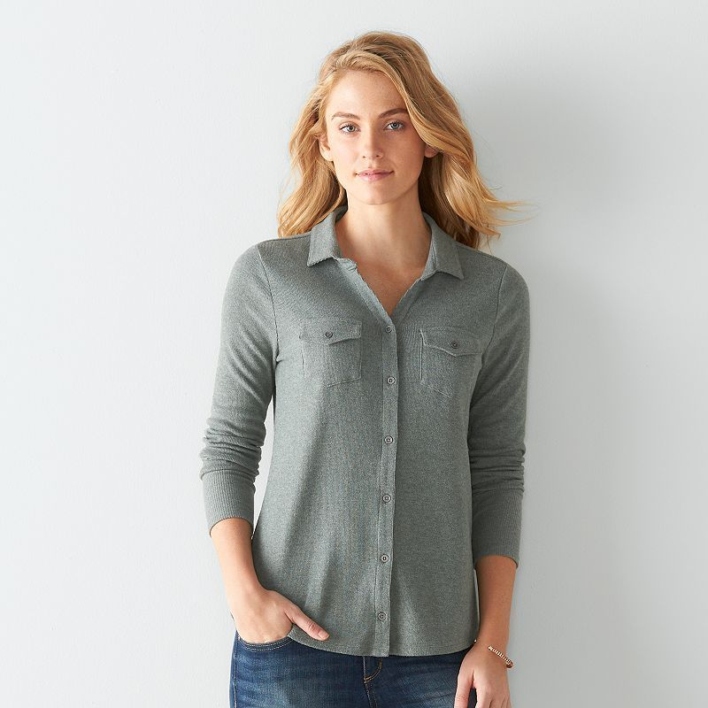 Women's SONOMA Goods for Life™ Ribbed Shirt, Size: