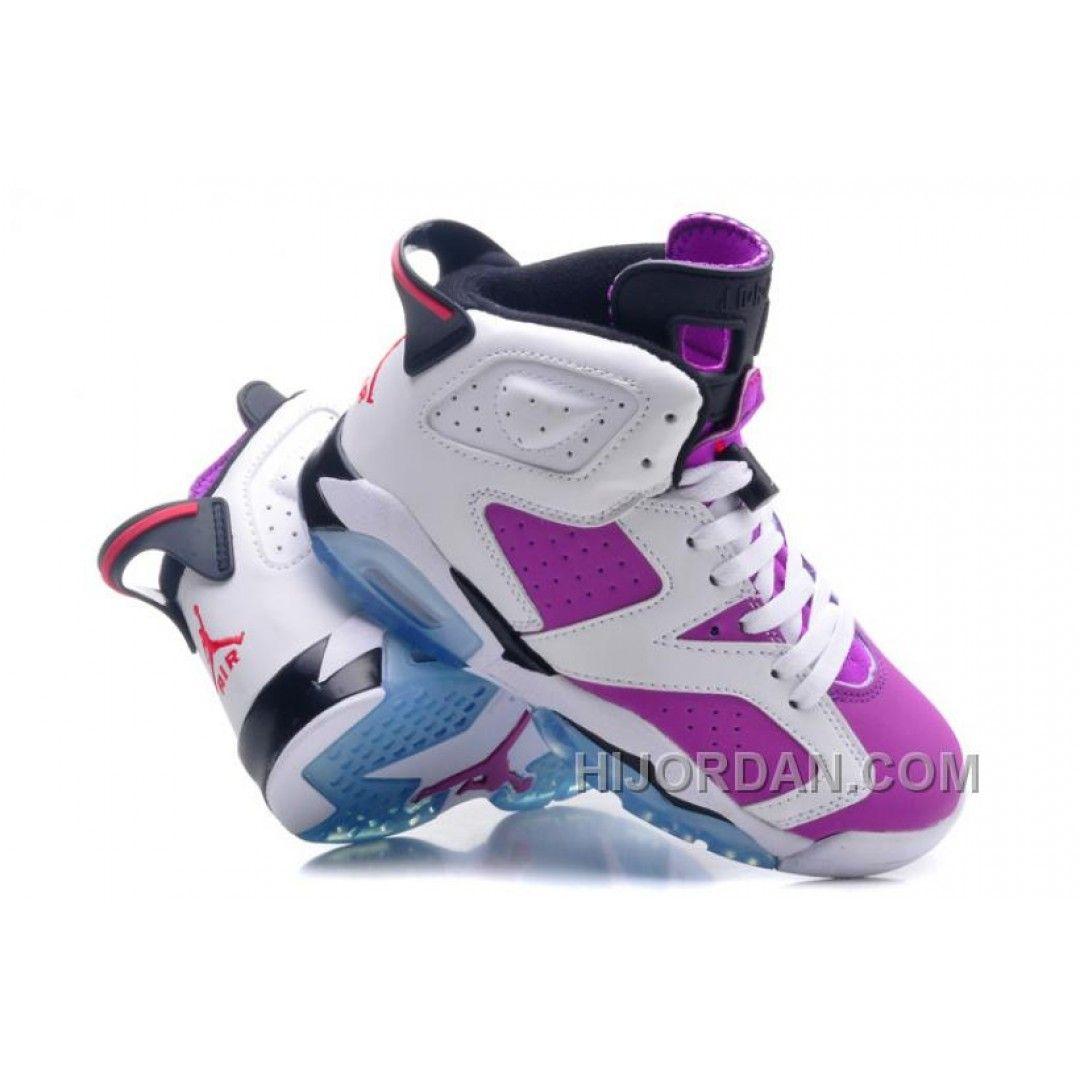 Authentic Air Jordan 6 Retro White Vivid Pink-Bright Grape-Black WoSize