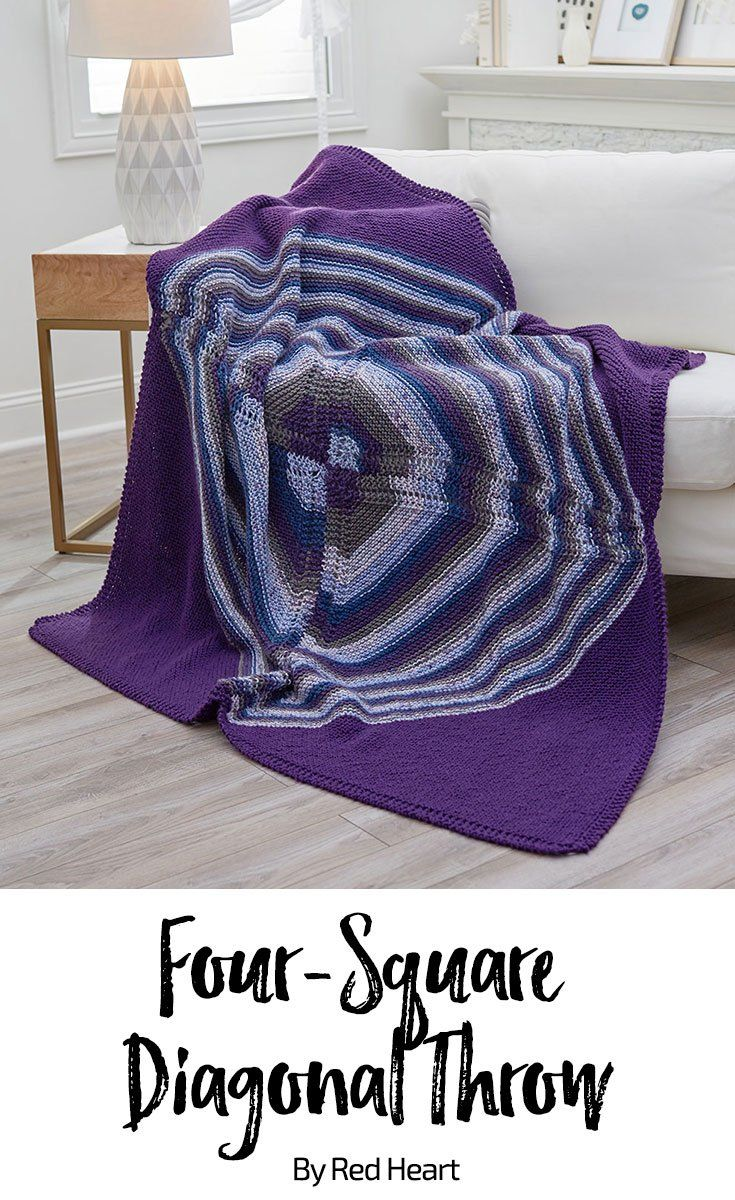 Four-Square Diagonal Throw free knit pattern in With Love yarn ...