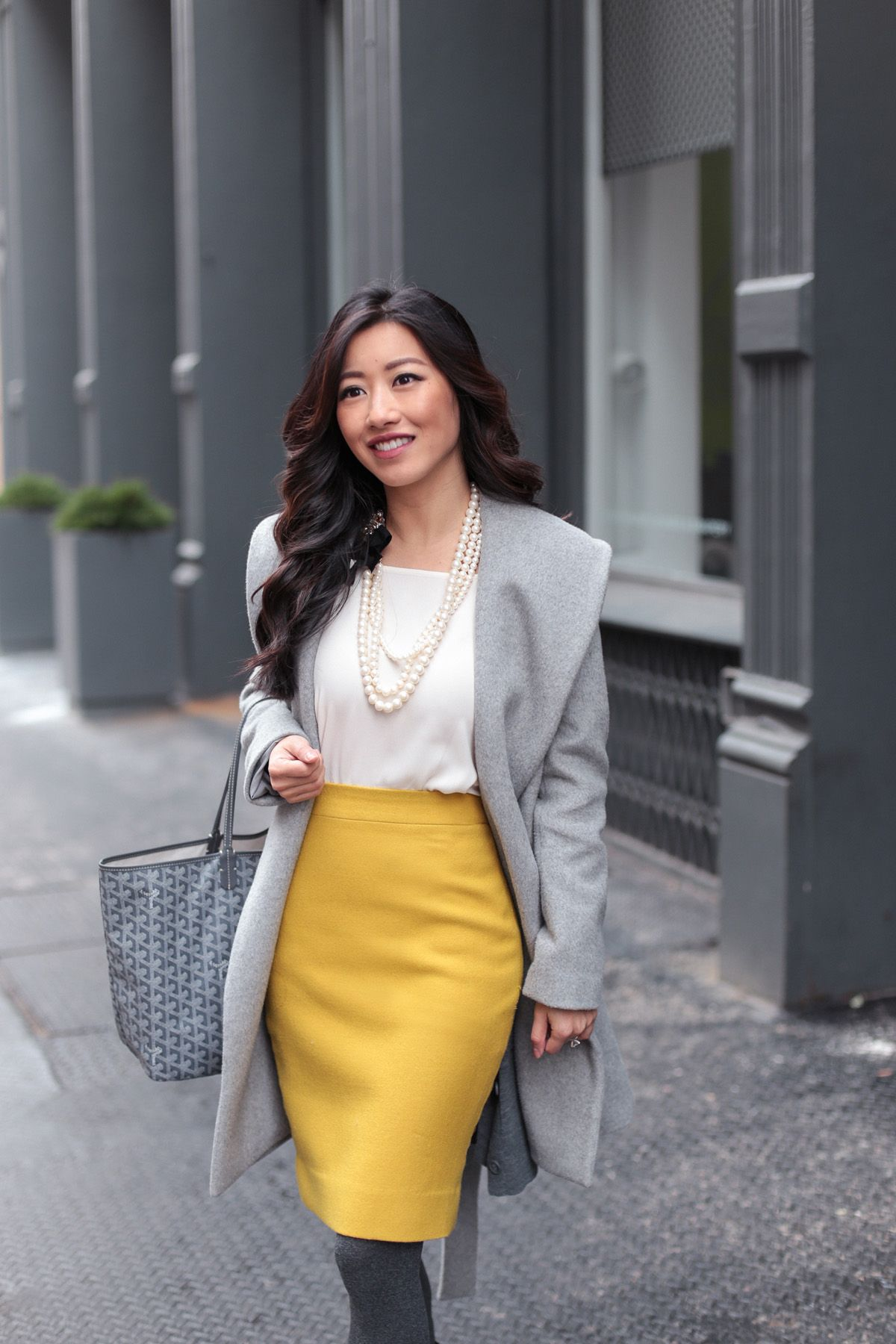 825d1914df Petite fashion blog // winter work outfit in gray wrap coat + mustard  pencil skirt