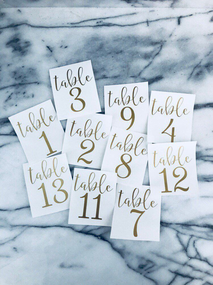 1 12 Vinyl Decal Table Numbers Wedding Table Numbers Table Diy Table Numbers Event Table Numbers Wedding Table Numbers