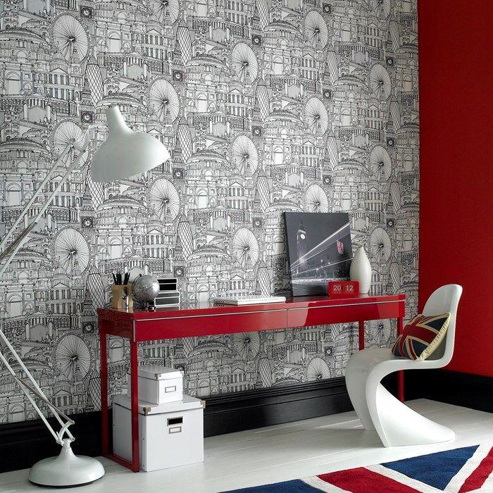 londinium black / white   home - wallpaper   pinterest   dipingere ... - Carta Da Parati Bianca Da Dipingere