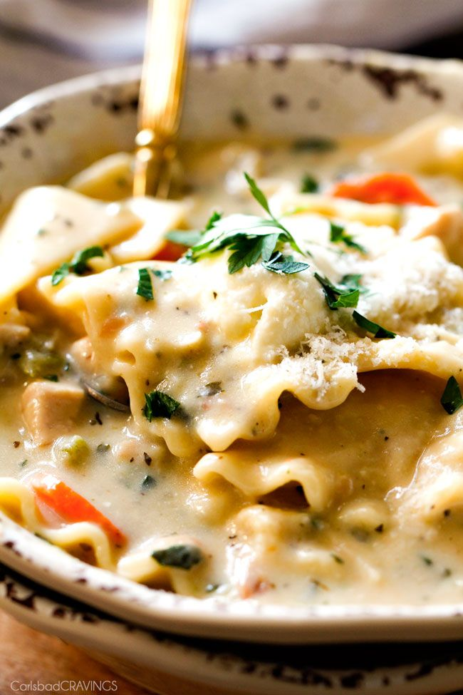 ONE POT White Chicken Lasagna Soup (with Video!)