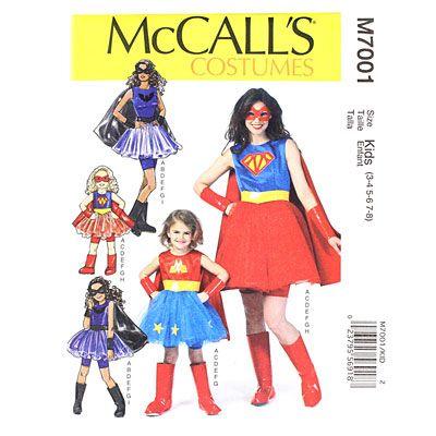Superhelden-Kostüme für Mama und Kind: Ganz easy mit dem Schnittmuster Mutter-Tochter Kostüme, McCall´s M7001 bei stoffe.de