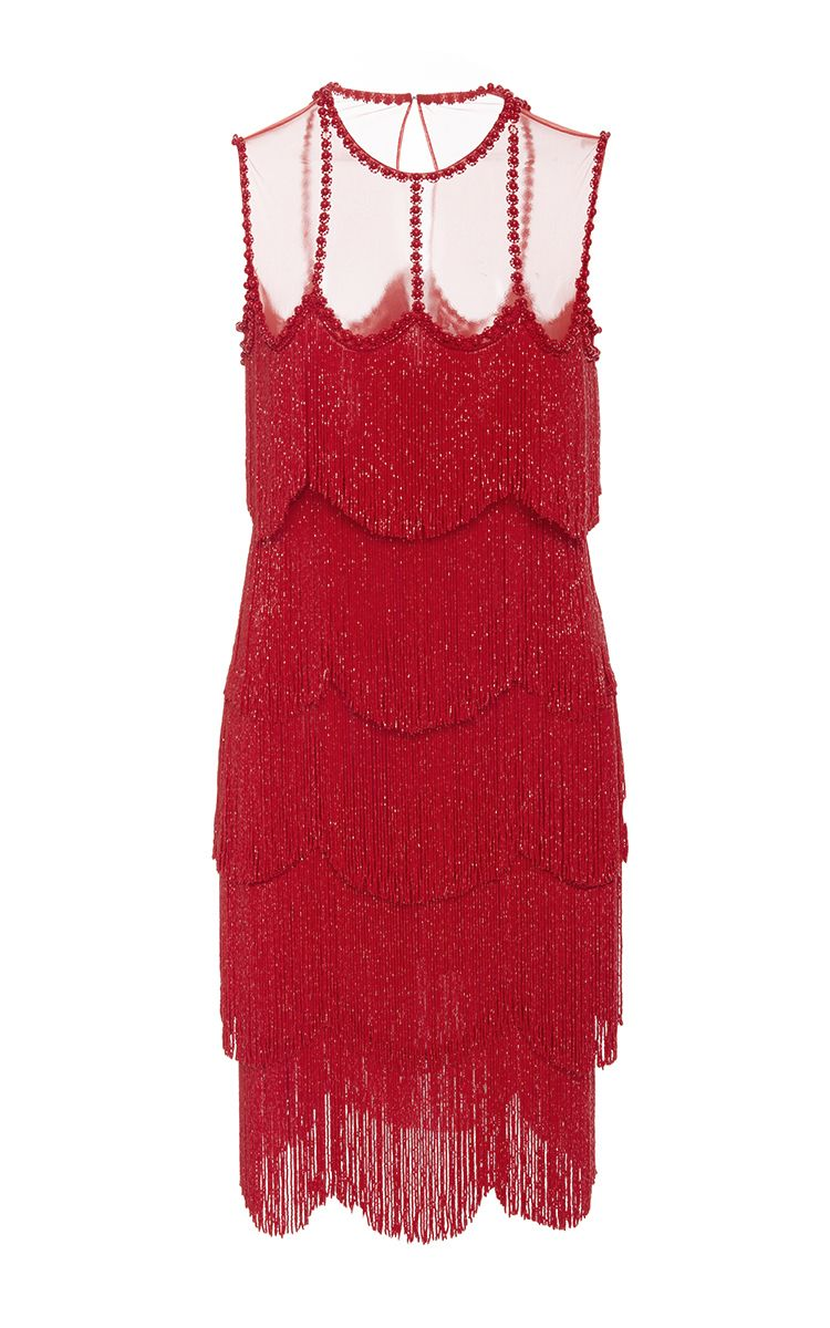 58af40b04ddf Sleeveless Flapper Fringe Mesh Neckline Mini Dress by | Moda Operandi