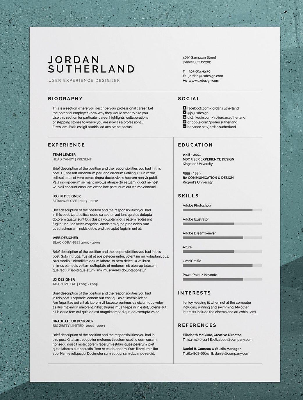 Pro Resume Cv Jordan Resume Design Resume Design Creative Resume Design Template