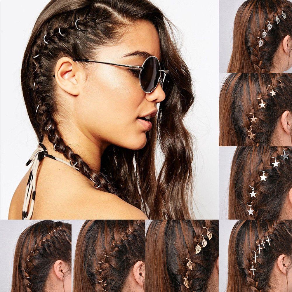 5 10pcs Punk Women Hip Hop Braid Hand Shell Star Ring Hair Clips Accessory Punk Braids Hip Hop Hair Styles Fashion Hair Accessories