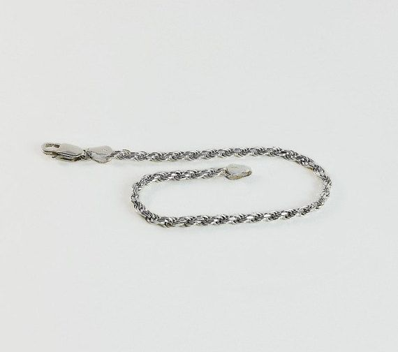 "Silver Chain Bracelet - Sterling Silver 7.5""  Rope Bracelet - Diamond Cut Sterling Bracelet - Sterling Silver Link Bracelet #SterlingBracelet #SilverRopeBracelet #DiamondCutBracelet Don't Miss A THING! Visit and follow our shop for more great finds!  https://OrderOfDisorder.etsy.com"