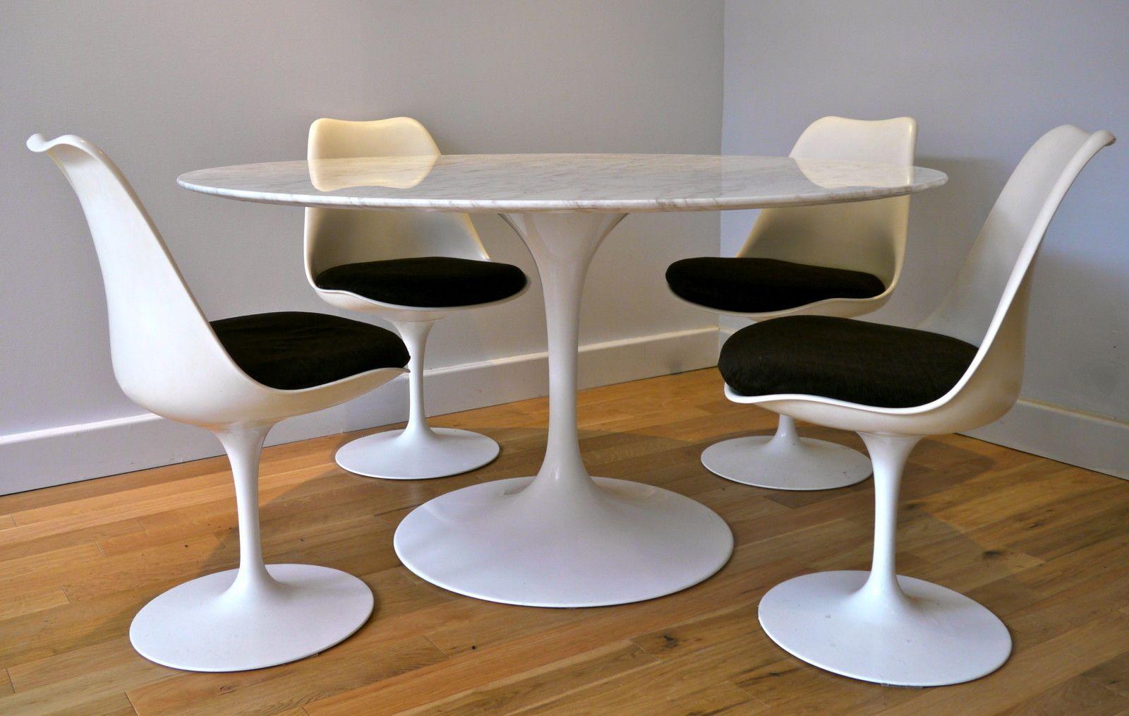 Table Florence Knoll Prix eero saarinen, table en marbre et chaises tulipe, un