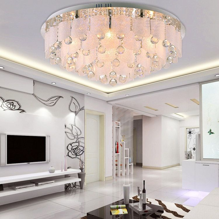 Pas cher surface moderne mont led lustre en cristal au for Lustre de salon moderne