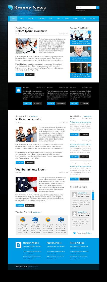 Website Template Template 36830  Bronxy News Website Template  Media Website