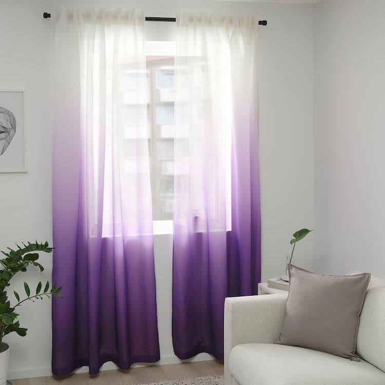 Strandtrift Curtains 1 Pair Lilac White Ikea Light Purple