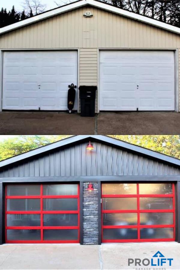 Amarr Vista Series Garage Doors Were Used In This Major Garage Renovation Notice The Custom Frame Finish Door Makeover Garage Door Makeover Garage Door Design