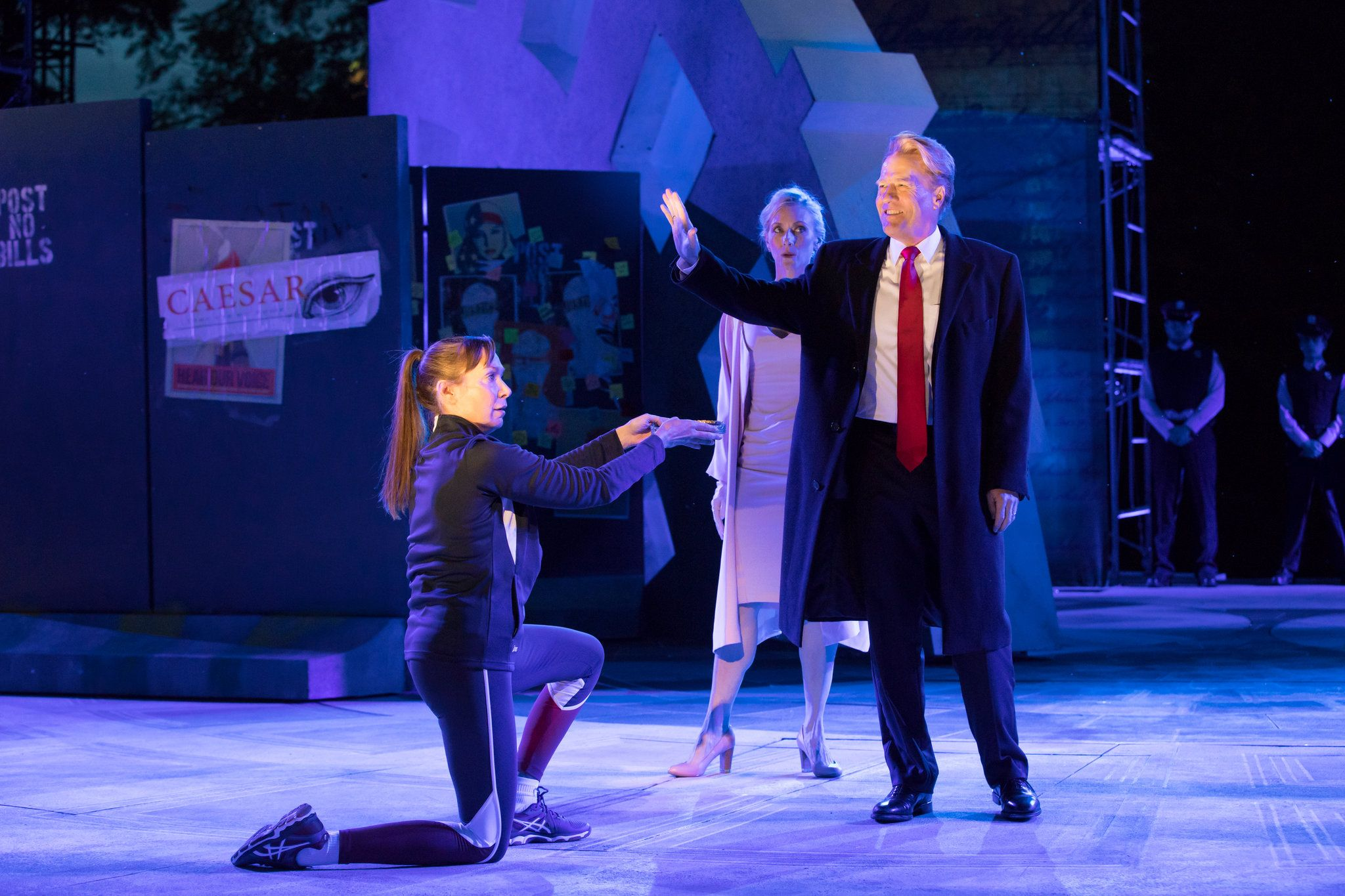 "The ""graphic"" depiction of the emperor's assassination in the Public Theater's production of the play in Central Park led Delta and Bank of America to withdraw support."