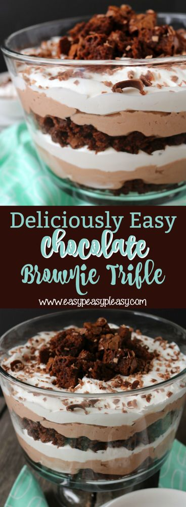Deliciously Easy Chocolate Brownie Trifle - Easy Peasy Pleasy