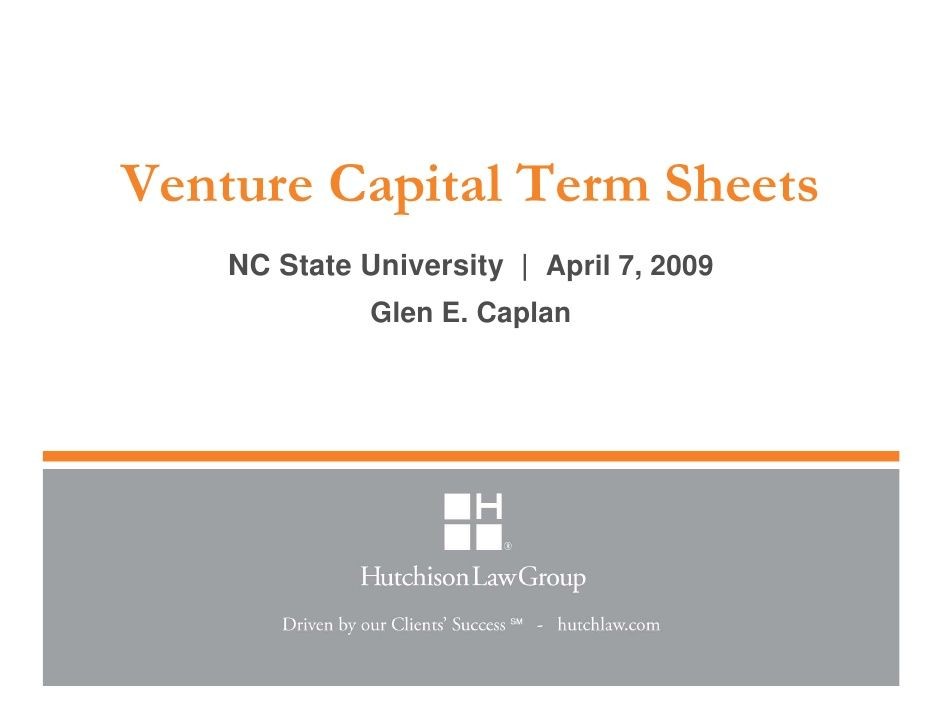 venture-capital-term-sheets-april-7-2009 by glencaplan via - sample term sheet