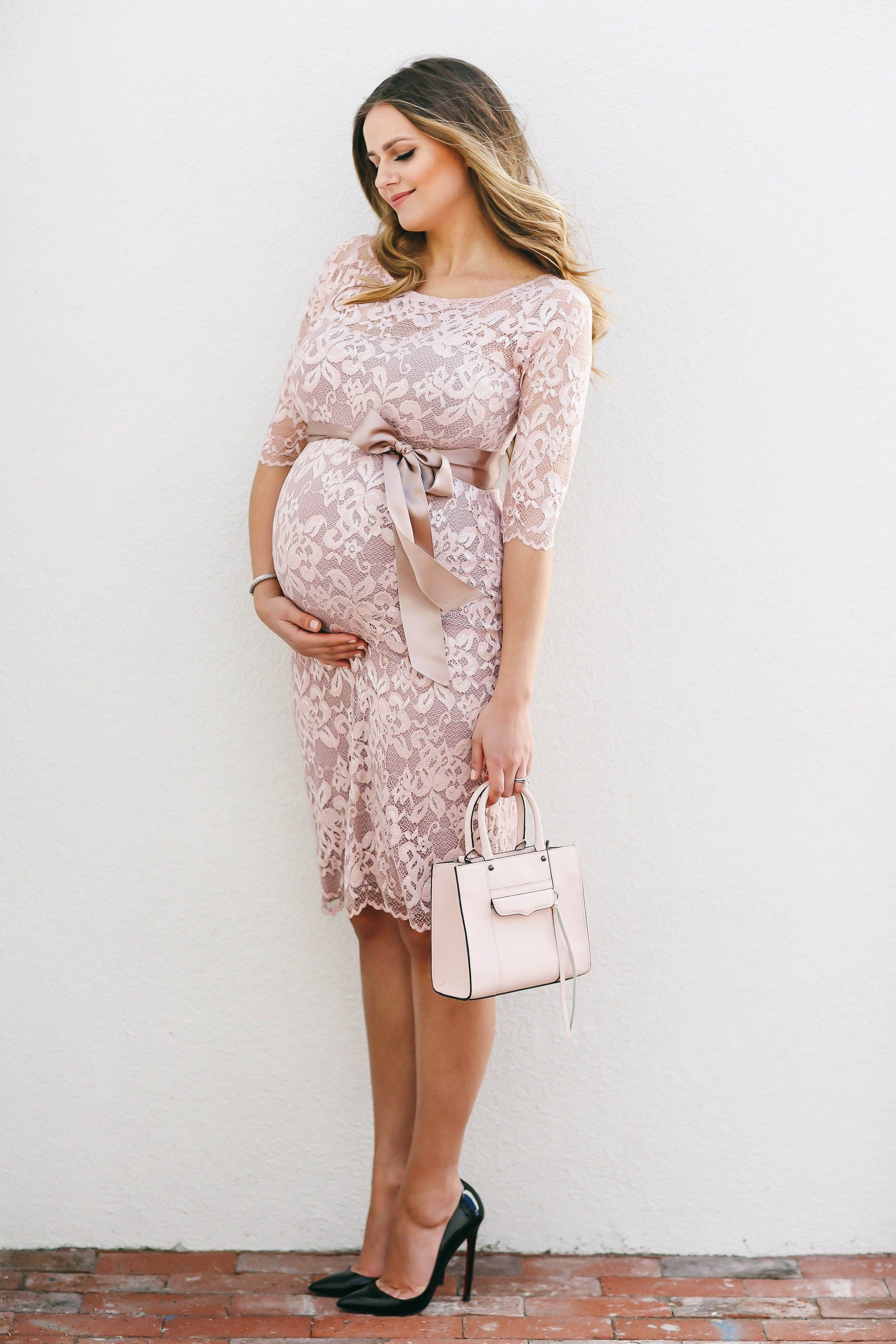 Bumpstyle Blush Pink Lace Maternity Dress Bondgirlglam
