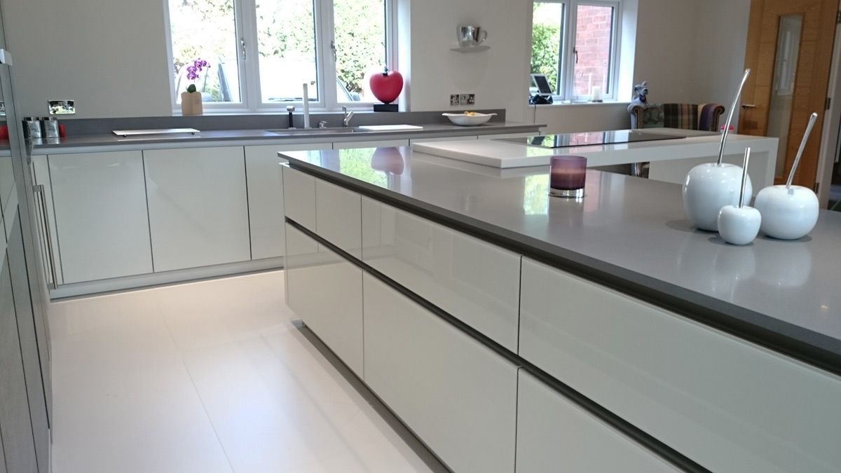 Grey & White kitchen worktop made out of Krion Solid Surface in ...