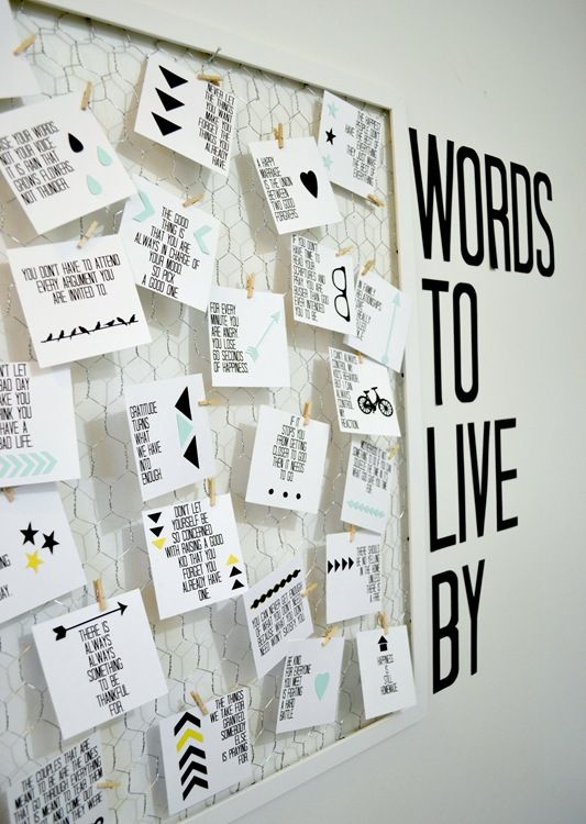 Words To Live By Quote Board Diy With Printable Dorm
