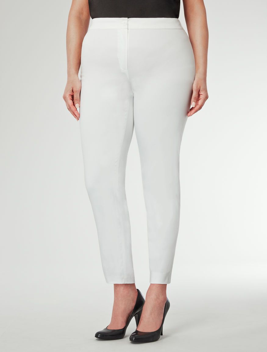 8ce8cac55d Marina Rinaldi RITMO bianco ottico: Pantalone in raso di cotone ...