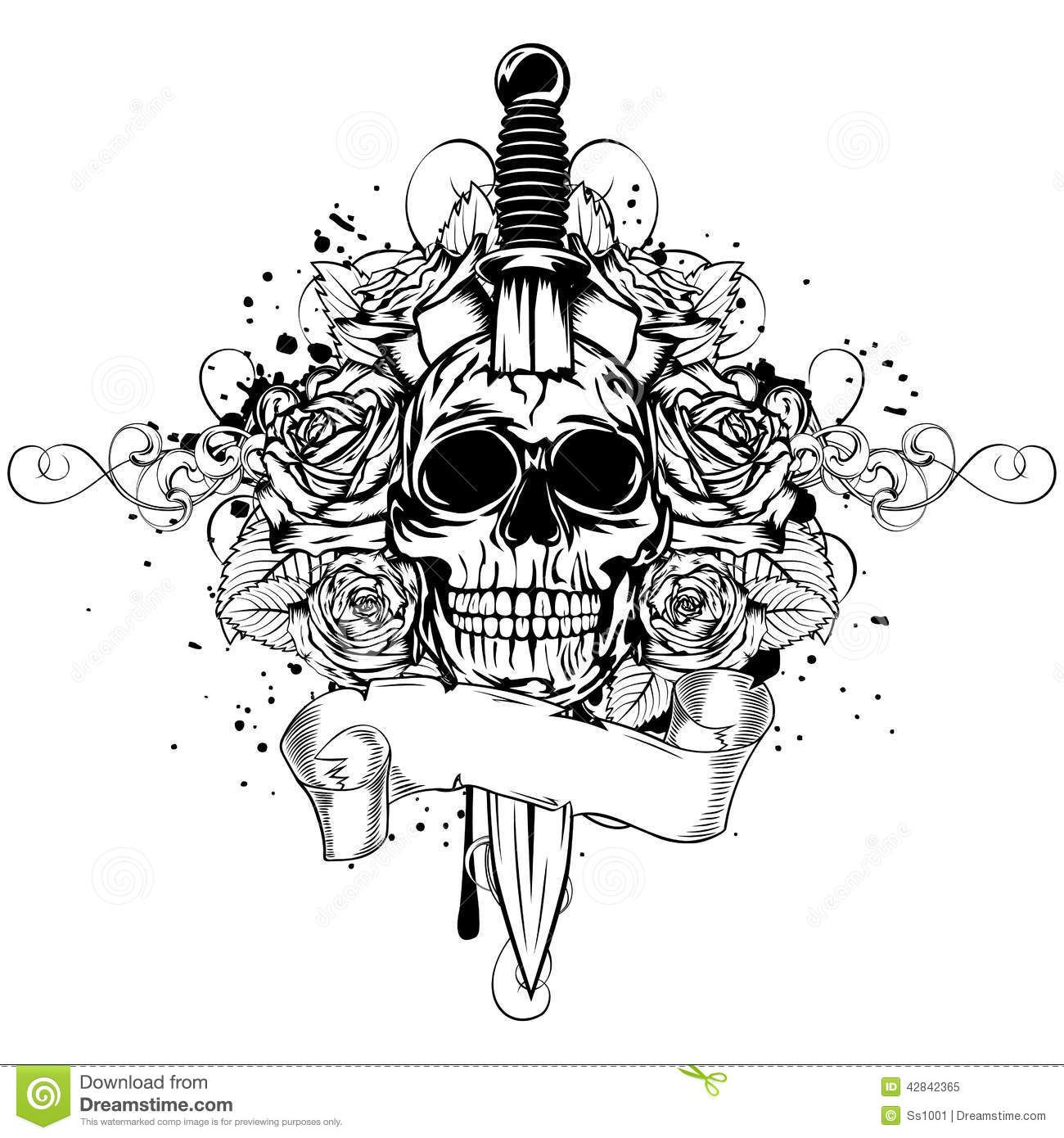 Related image Vector illustration, Skull, Broken sword