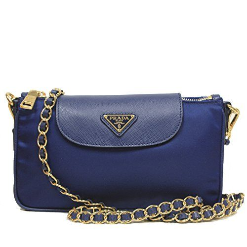 6f7eebe03dec Prada Tessuto + Saffian Bandoliera Royal Blue Nylon Leather Chain Cross  Body Bag Shoulder Handbag