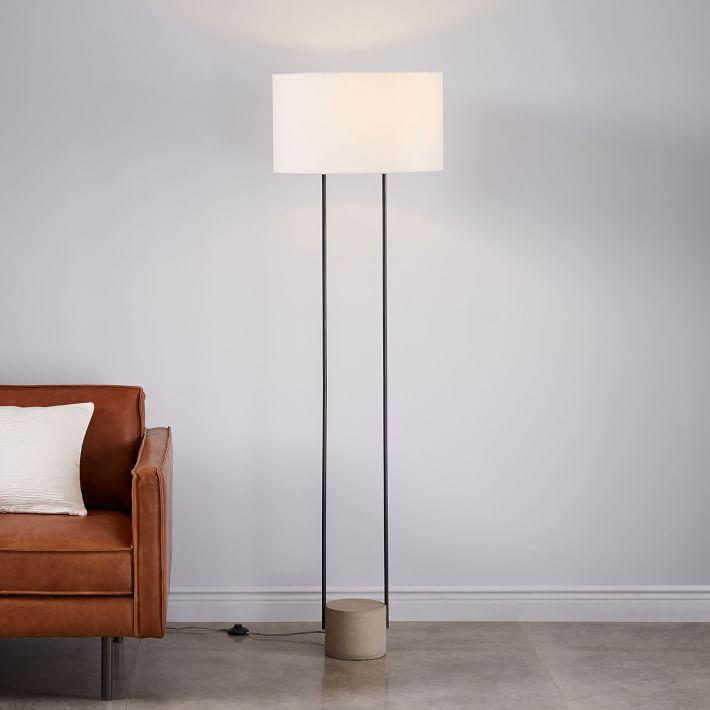 Industrial Outline Floor Lamp Marble Antique Brass Industrial Floor Lamps Lamps Living
