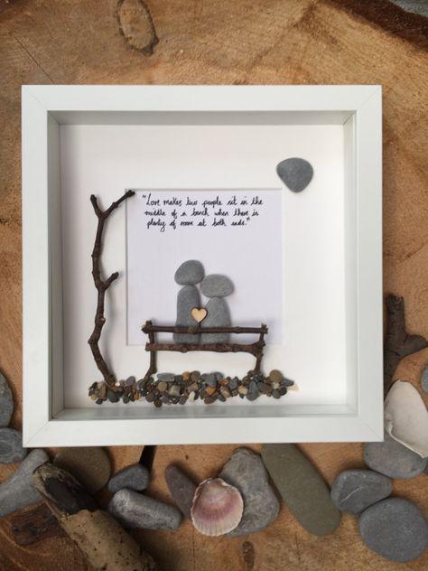 Pebble art couple frame, love, bench, friendship | Pebble art ...