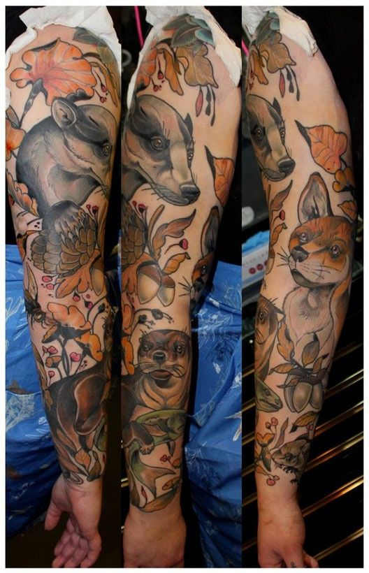 8619ef23164ff46b5535cbedd29dda1f Jpg 528 820 Animal Sleeve Tattoo Nature Tattoo Sleeve Wood Tattoo