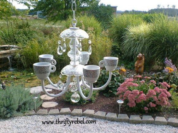 Kronleuchter Für Den Garten ~ Re purposed chandelier tea light diy art & craft ideas pinterest