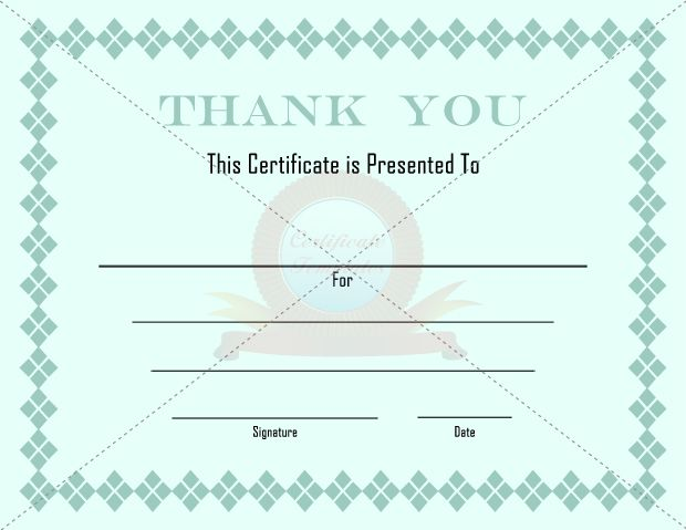 Thank You Certificates  Thank You Certificate Templates