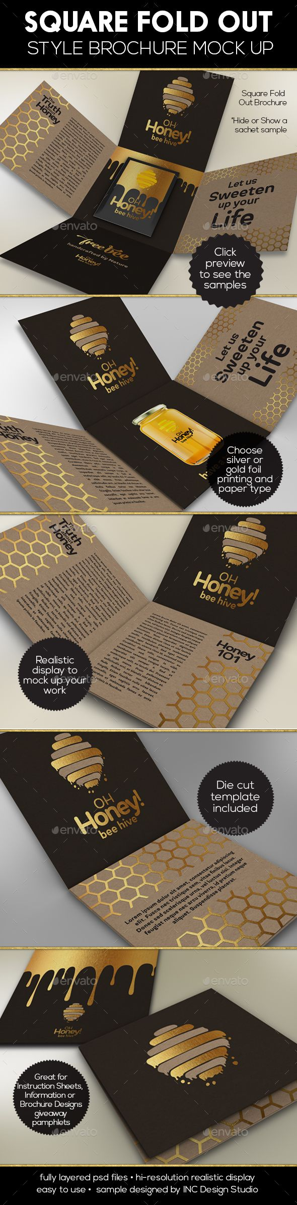Square Fold Out Style Brochure Brochures Photoshop And Squares - Fold out brochure template